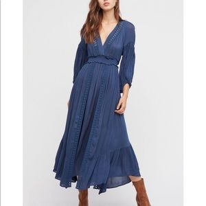 Free people blue Marysia maxi dress NWOT